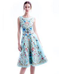 Oscar de la Renta - Blue Embroidered Silk Aline Dress Aqua - Lyst