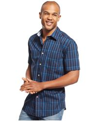 Tommy Hilfiger | Black Short-sleeve Plaid Shirt for Men | Lyst