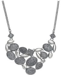 Style & Co. | Metallic Glitter Cabochon Frontal Necklace | Lyst