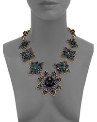 Oscar de la Renta | Blue Jeweled Floral Necklace | Lyst