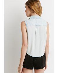 Forever 21 | Blue Denim Pocket Shirt | Lyst