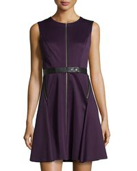 Suzi Chin for Maggy Boutique - Purple Zip-front Leather-belted Fit-and-flare Scuba Dress - Lyst
