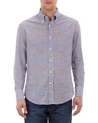 Brunello Cucinelli | Blue Checked Slimfit Shirt for Men | Lyst