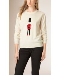 Burberry | The Guardsman Wool Cashmere Sweater Natural White | Lyst
