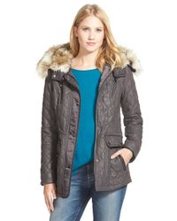 Laundry by Shelli Segal | Gray Quilted Faux-Fur-Trimmed Jacket | Lyst