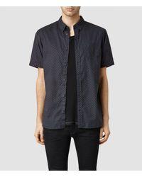AllSaints | Blue Shield Short Sleeved Shirt for Men | Lyst