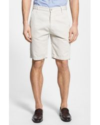 7 For All Mankind | White Flat Front Cotton & Linen Chino Shorts for Men | Lyst