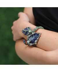 Arunashi - Blue Carved Tanzanite Leaf Bangle - Lyst