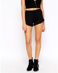 ASOS | Black Jersey Shorts With Ruffle Hem | Lyst