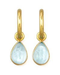 Elizabeth Locke | Metallic Light Aqua Intaglio Teardrop Earring Pendants | Lyst