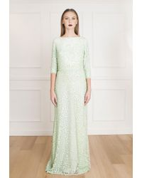 Elie Saab - Green Allover Bead 3/4 Sleeve Dress - Lyst