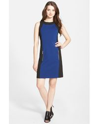 MICHAEL Michael Kors | Blue Colorblock Sleeveless Ponte Sheath Dress | Lyst