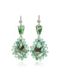 Nina Runsdorf - Green One Of A Kind 18K White Gold Rose Cut Emerald Earrings - Lyst