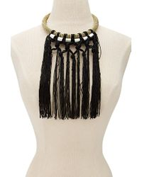 Forever 21 - Metallic Fringed Chain-wrapped Tube Necklace - Lyst