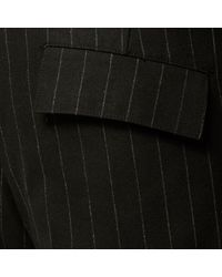 River Island - Black Smart Pinstripe Slim Tapered Trousers for Men - Lyst