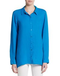 Eileen Fisher - Blue Linen Button-front Top - Lyst