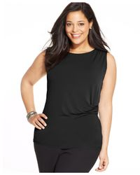 Jones New York | Black Collection Plus Size Draped Shell | Lyst