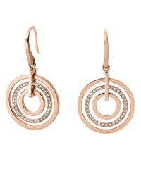 Michael Kors | Pink Rose Goldtone And Glitz Circle Drop Earrings | Lyst