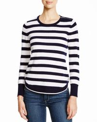 Aqua | Gray Cashmere Cashmere Stripe Zip Shoulder Sweater | Lyst