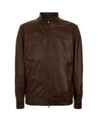 Peter Millar - Brown Calf Leather Jacket for Men - Lyst
