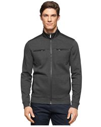 Calvin Klein | Gray Texture Ponte Full-zip Mock-collar Jacket for Men | Lyst