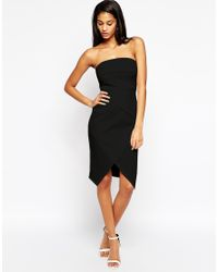 ASOS | Black Fold Bandeau Asymmetric Dress | Lyst