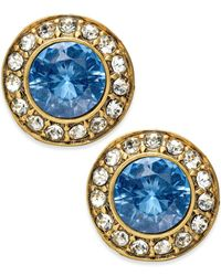 ABS By Allen Schwartz | Blue Crystal Stone Stud Earrings | Lyst