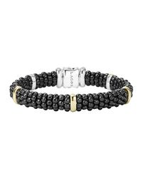 Lagos - Metallic Black Caviar Rope Bracelet With Gold - Lyst