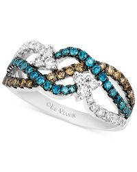 Le Vian - Chocolate (1/4 Ct. T.w.) And Blue (1/3 Ct. T.w.) Diamond Woven Ring In 14k White Gold - Lyst