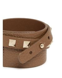 Valentino | Brown 'rockstud' Double Wrap Leather Bracelet | Lyst