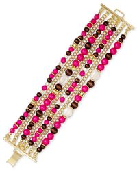 INC International Concepts | Multicolor Gold-tone Fuchsia Bead Multi-row Bracelet | Lyst