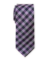 Pierre Cardin - Purple Checked Slim Silk Tie for Men - Lyst
