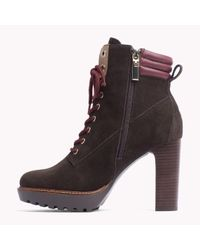 Tommy Hilfiger | Brown Leather Mix Boot | Lyst
