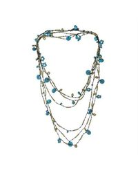 Aeravida | Handmade X-long Triple Strands Blue Tq Brass Necklace | Lyst