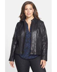 Bernardo   Black Leather Front Zip Scuba Jacket   Lyst