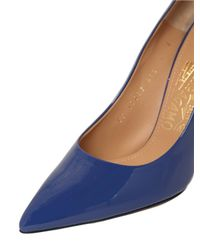 Ferragamo | Blue 100mm Susie Glass Patent Leather Pumps | Lyst