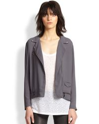 The Kooples - Gray Lightweight Crepe Moto Jacket - Lyst