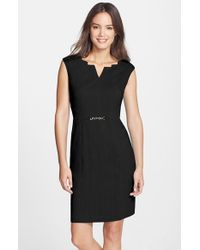 Ellen Tracy | Black Angular Neckline Sheath Dress | Lyst