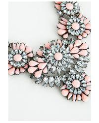 Missguided - Pink Ravenna Floral Gem Detail Statement Necklace Blush - Lyst