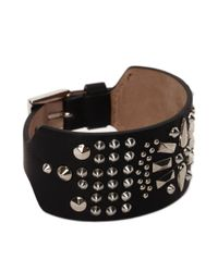 Alexander McQueen - Black Studded Leather Cuff for Men - Lyst