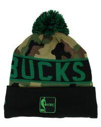 6d795185b8d Lyst - KTZ Milwaukee Bucks Hardwood Classics Camo Pom Knit Hat in Green