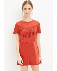 Forever 21 | Orange Fringed Faux Suede Dress | Lyst