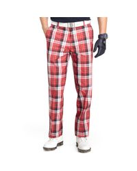 Izod | Red Flat Front Plaid Golf Pants for Men | Lyst