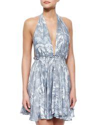 LoveShackFancy   Blue Feather-dyed Deep Halter Dress   Lyst