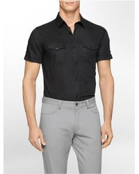 Calvin Klein | Black White Label Classic Fit Tonal Stripe Twill Cotton Dobby Short Sleeve Shirt for Men | Lyst