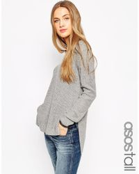 ASOS | Gray Ultimate Chunky Jumper With V-neck And Side Splits | Lyst