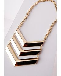Missguided | Metallic Geometric Tier Necklace Gold | Lyst