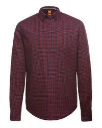 BOSS Orange | Red Slim-fit Casual Shirt In Cotton 'edipoe' for Men | Lyst