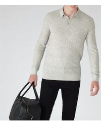 Reiss - Gray Wish Knitted Polo Shirt for Men - Lyst