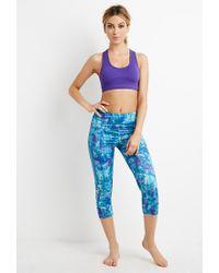 Forever 21 - Purple Abstract Print Capri Leggings - Lyst